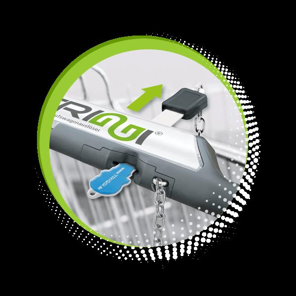 TRIGGI® Einkaufswagenlöser - Schritt 2: Sicherungskette am Einkaufswagen auslösen