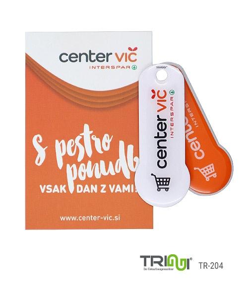 Einkaufswagenlöser Edelstahl bedrucken mit Logo - TRIGGI® TR-204