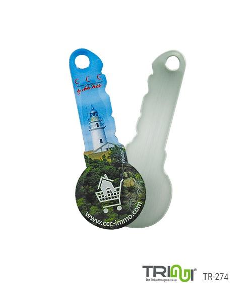 Einkaufswagenlöser TRIGGI® TR-274 - Schlüsselform - Einkaufswagenchips bedrucken