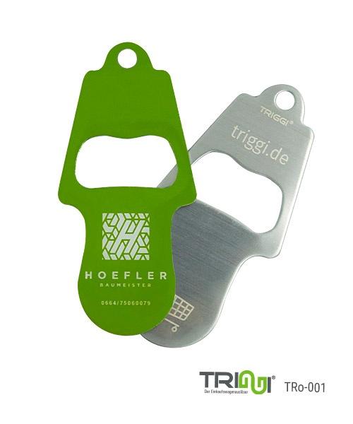 Einkaufswagenlöser TRIGGI® TRo-001 mit Flaschenöffner - Einkaufswagenchips bedrucken